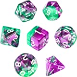 Polyhedral 7-Die Dice Set for Dungeons and Dragons with Black Pouch (Transparent Purple Green)