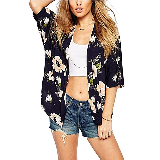 1e01fdd2a5 BOSSAND Women's Sheer Chiffon Blouse Loose Tops Kimono Floral Print Cardigan  (Small, ...
