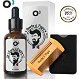 O³ Huile Barbe Homme 100% Naturelle - Huile De Ricin Barbe - Accélère la Pousse, Adoucit le poil - Kit Barbe avec Un Peigne Barbe Homme en bois Naturel
