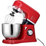 MeyKey Stand Mixer, 5-Quart Classic Series, 800W and 6-speed control Includes Beater, Dough Hook & Whisk- Empire Red