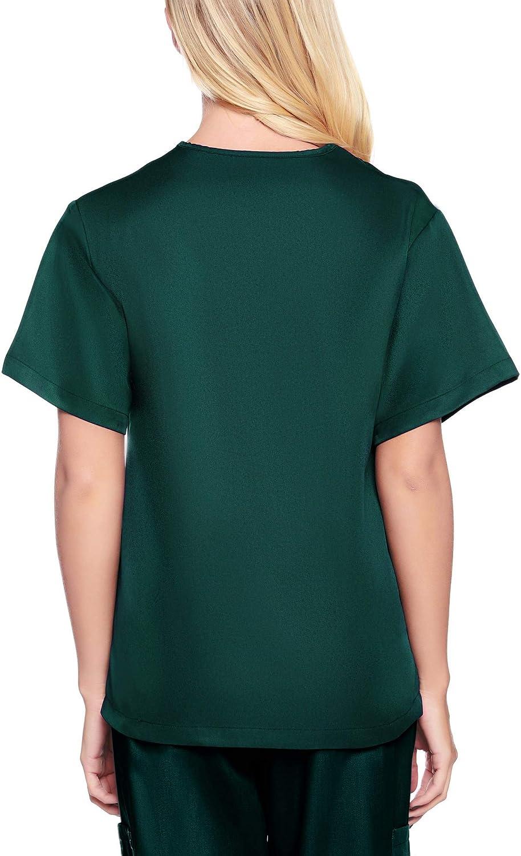 Womens V Neck Solid Short Sleeve Scrub Top Work Uniform Shirt with Pockets Green, M