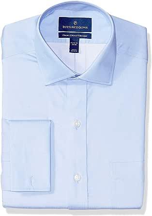 Marca Amazon - Buttoned Down – Camisa de vestir con puño francés de corte clásico con cuello abierto de algodón Supima para hombre que no necesita ...
