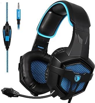 Auriculares multiplataforma para videojuegos SADES SA807 para Xbox One, PS4, PC, Mac, iPad, iPod, color negro y azul: Amazon.es: Electrónica