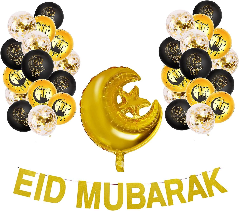 Eid Mubarak Decoration Black Gold Balloons Moon and Star Foil Balloon Confetti Balloons and Eid Mubarak Banner for Home Outdoor Ramadan Mubarak Eid Ul Fitr