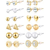 BBTO 24 Pairs Stud Earrings Crystal Pearl Earring Set Ear Stud Jewelry for Girls Women Men, Silver and Gold
