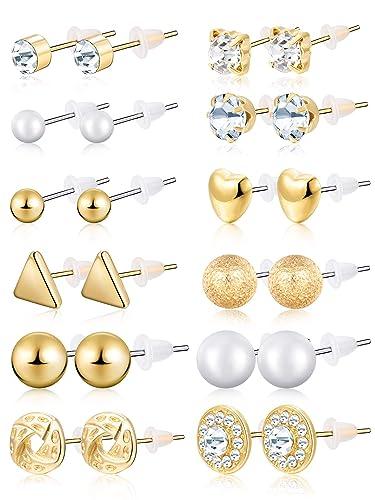 3a60ef27a BBTO 24 Pairs Stud Earrings Crystal Pearl Earring Set Ear Stud Jewelry for  Girls Women Men