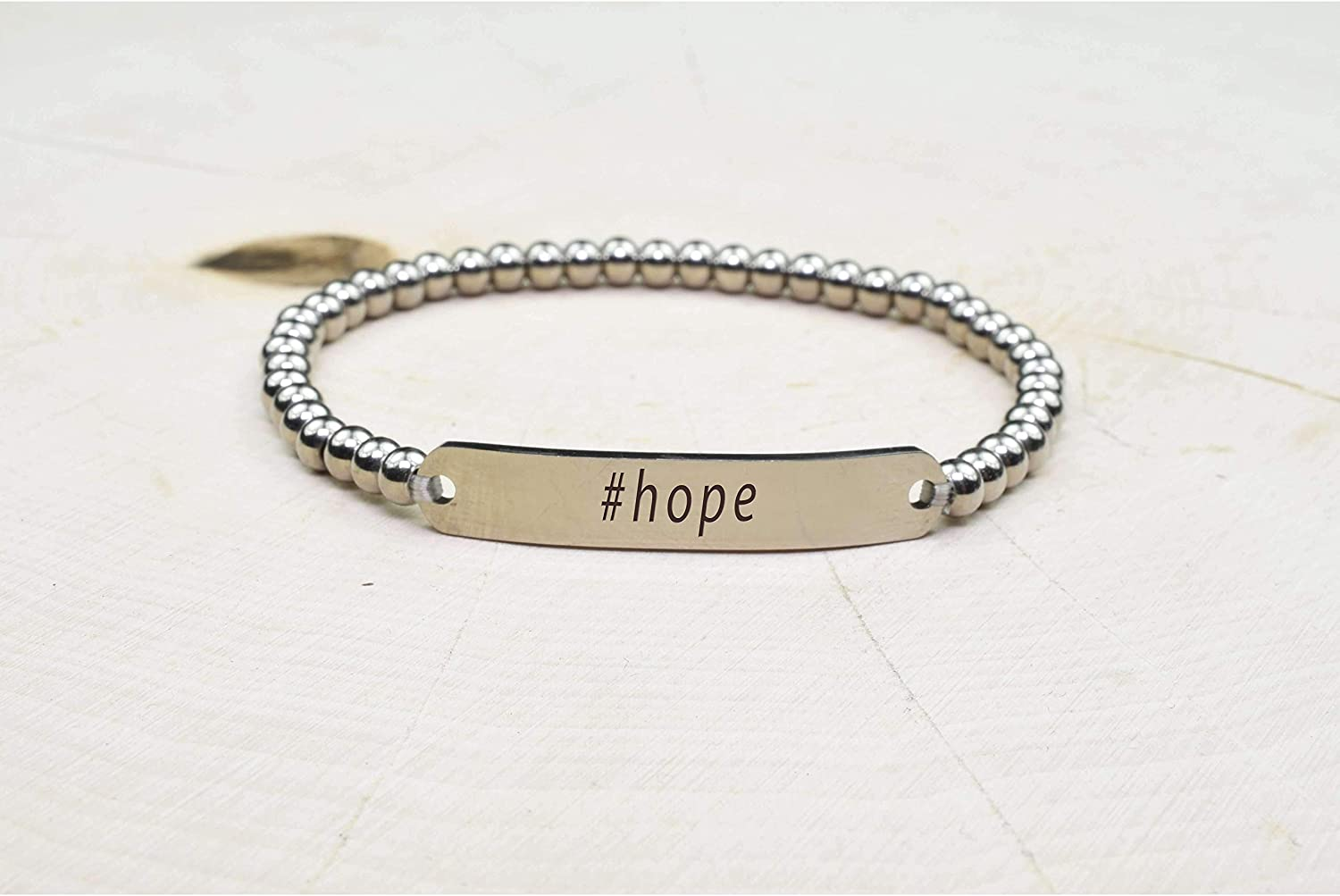 Pink Box Solid Stainless Steel Beaded Hashtag Bracelet Silver Hope