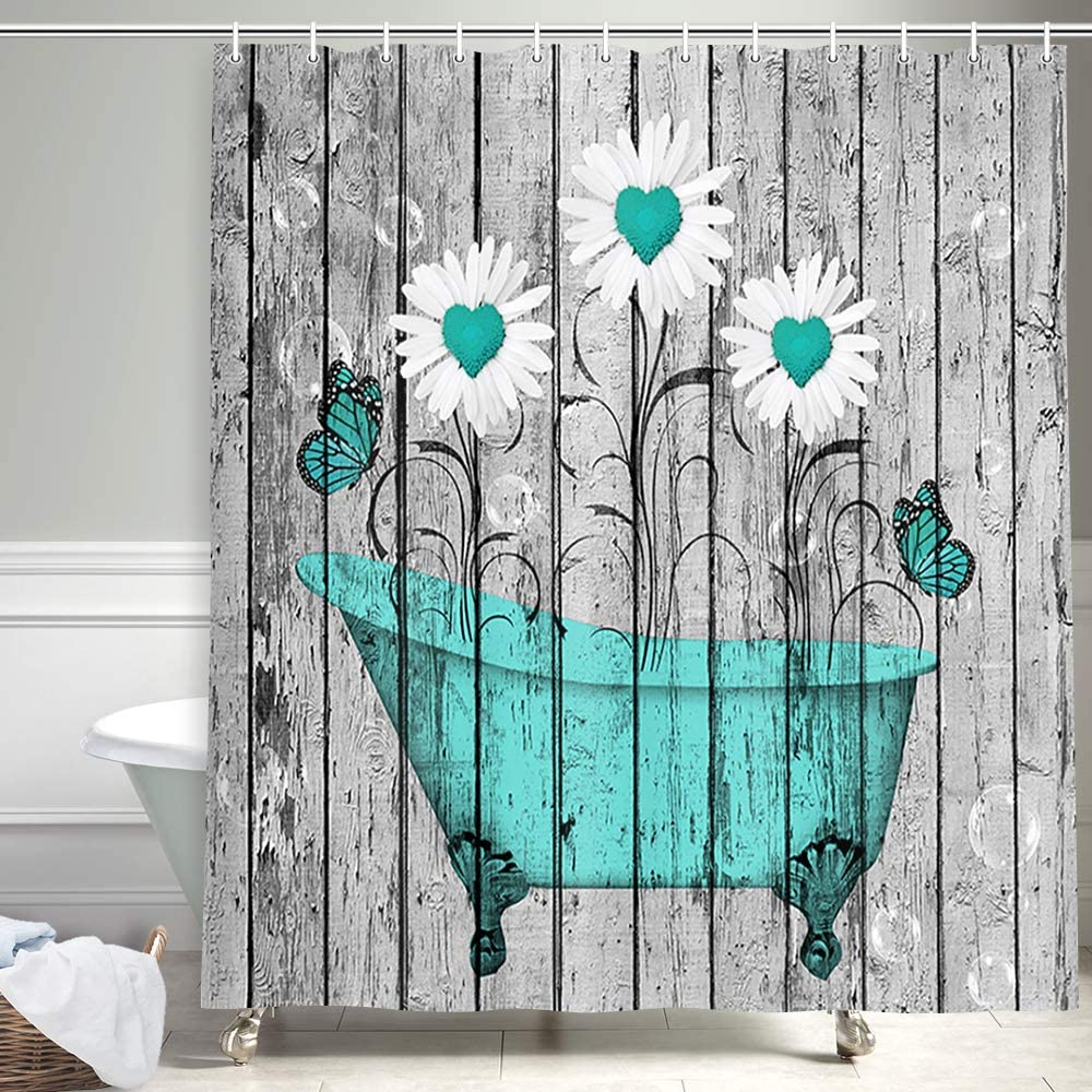 Farmhouse Floral Sunflowers in Teal Bathtub on Grunge Wooden Shower Curtains, Botanical Danisy Flower with Butterfly for Rustic Home Shower Curtain, Vintage Wood Bathroom Accessory Sets, (54X72in)