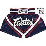Fairtex BS0653 Brave - Satin Shorts Blue Color for Boxing Muay Thai Kick Boxing MMA K1 Training キックボクシングのためのボクシングムエタイサテンショーツ