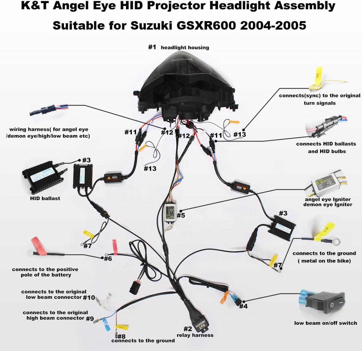 Amazon.com: KT LED Angel Eye Headlight Assembly for Suzuki GSXR600 GSX-R600  2004-2005 Red Demon Eye: Automotive [ 1165 x 1200 Pixel ]