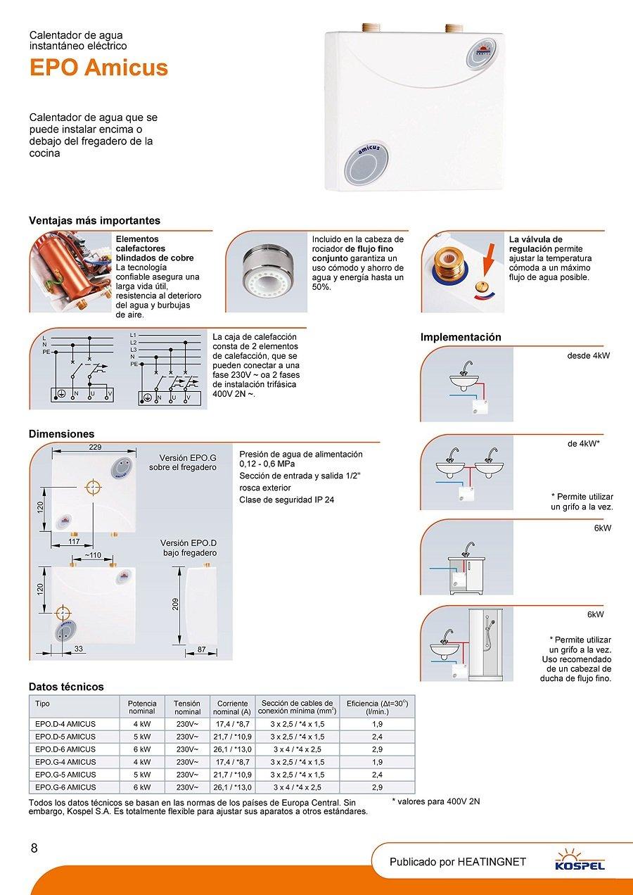 D Amicus - Calentador de agua a prueba de presión, bajo mueble, 6 kW, 230-400 V, clase energética A: Amazon.es: Bricolaje y herramientas