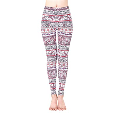 JUNVEVOOL Women Thickening Leggings Color Mandala Aztec Round Ombre Pants Fitness Elephant Flower Printed Trousers