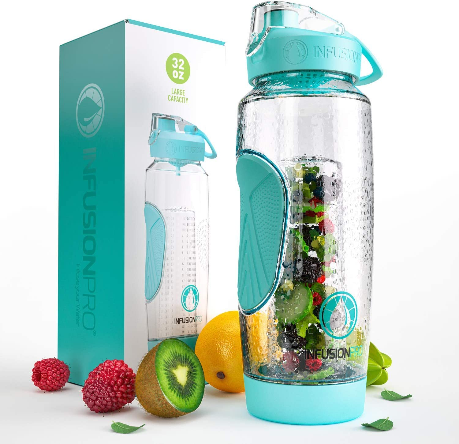 Infusion Pro 32 oz. Fruit Water Bottle Infuser with Insulated Sleeve & Infusion eBook :: Bottom Loading, Large Cage for More Flavor & Pulp Strainer :: Delicious, Healthy Way to Up Your Water Intake