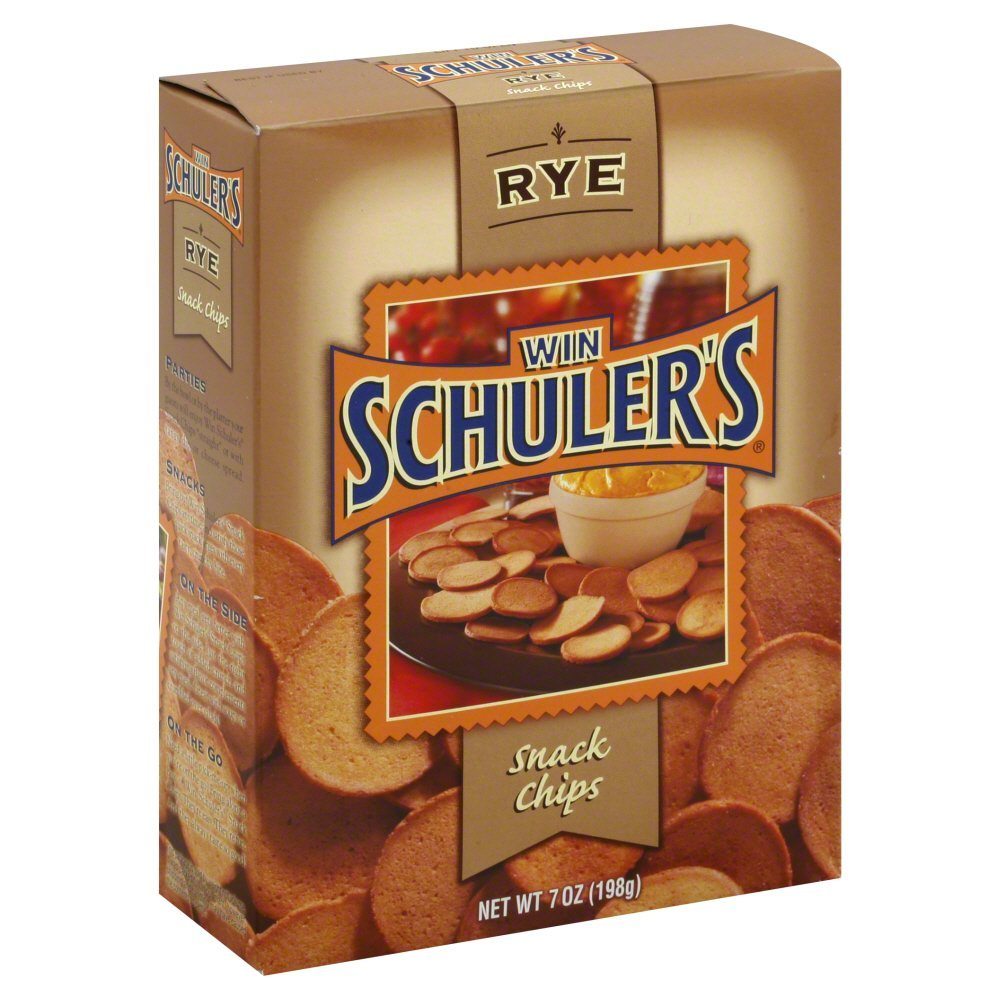 Win Schuler Natural Rye Bar Schips, 7-Ounce Boxes (Pack of 12)