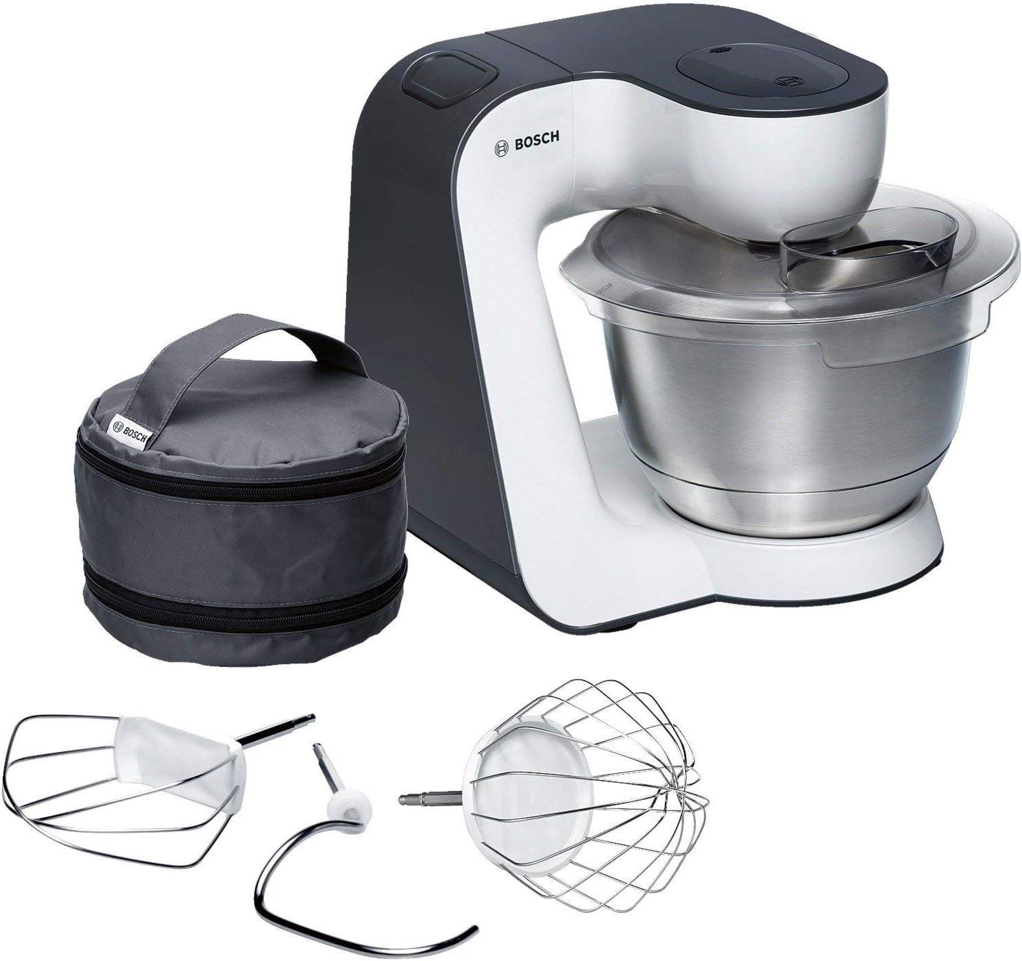 Bosch MUM54A00 900W 3.9L Negro, Plata, Color blanco - Robot de cocina (3,9 L, Negro, Plata, Blanco, 1,1 m, 900 W, 220 - 240, 50 - 60)