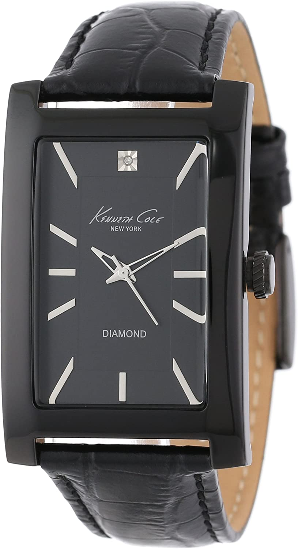 Kenneth Cole New York Men s Quartz Stainless Steel Case Leather Strap Black Model KC1985