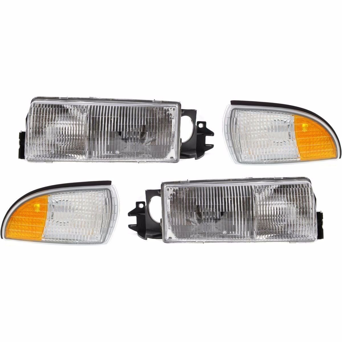 Georgie Boy Landau 1999-2005 RV Motorhome Pair (Left & Right) Replacement Front Headlights with Corner Lamps 4PC Set