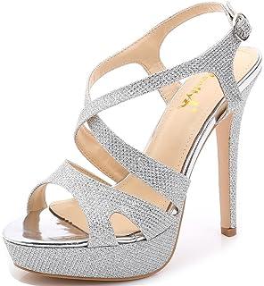 5d00e4a55e4f YooPrettyz Women s Sparkle Strappy Pump High-Heel Evening Platform Sandals  Wedding Shoes