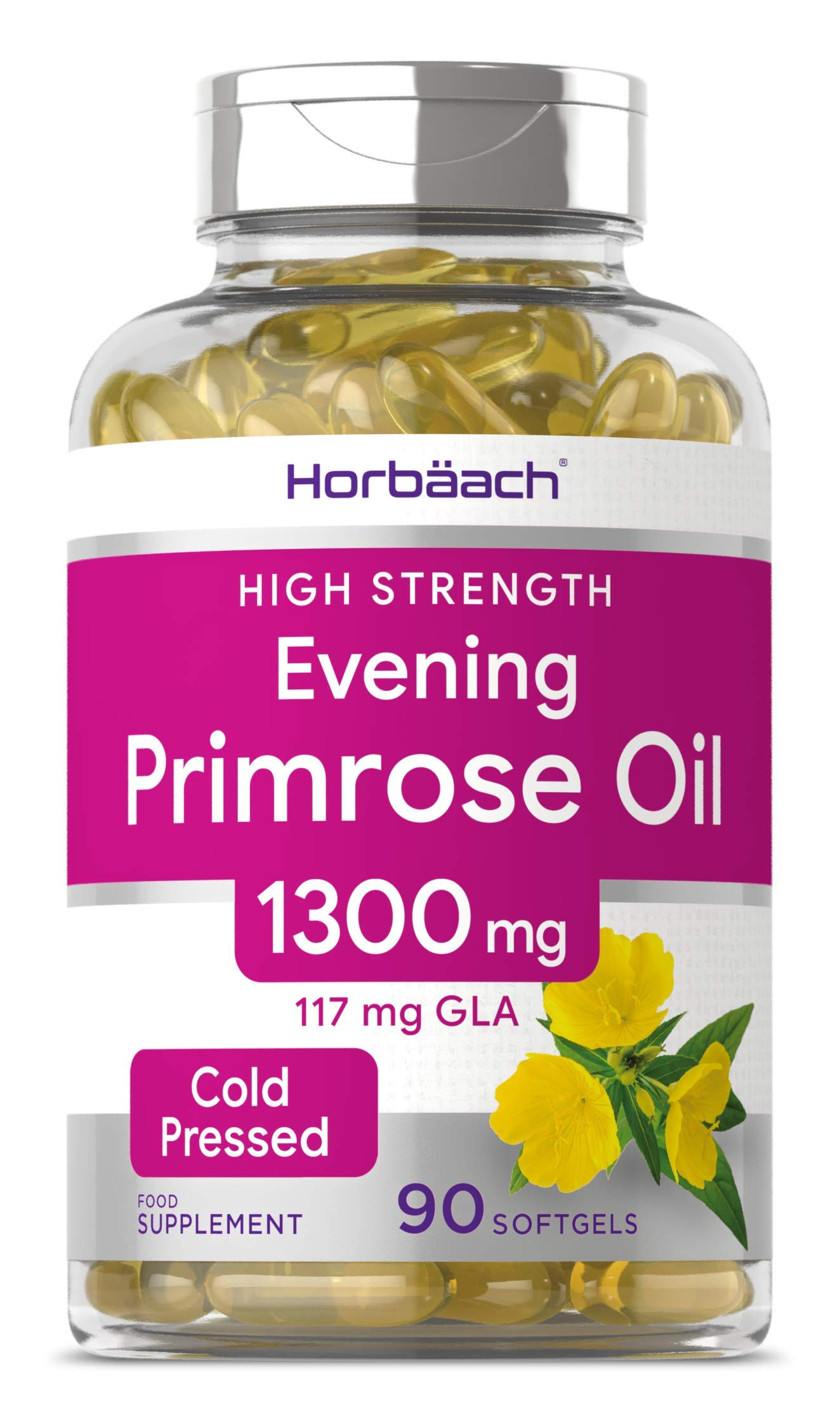 Evening Primrose Oil 1300mg | 90 Capsules | Rich Source of Omega 6 | 117mg GLA | Non-GMO, Gluten Free Supplement