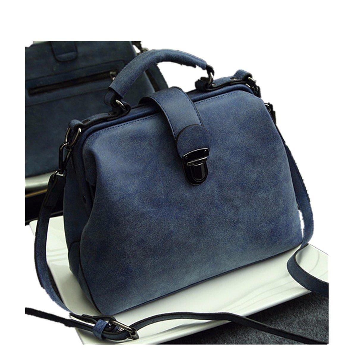 OURBAG Hot Retro Doctor Bag Fashion Trend Diagonal Portable Shoulder Bag Blue Medium