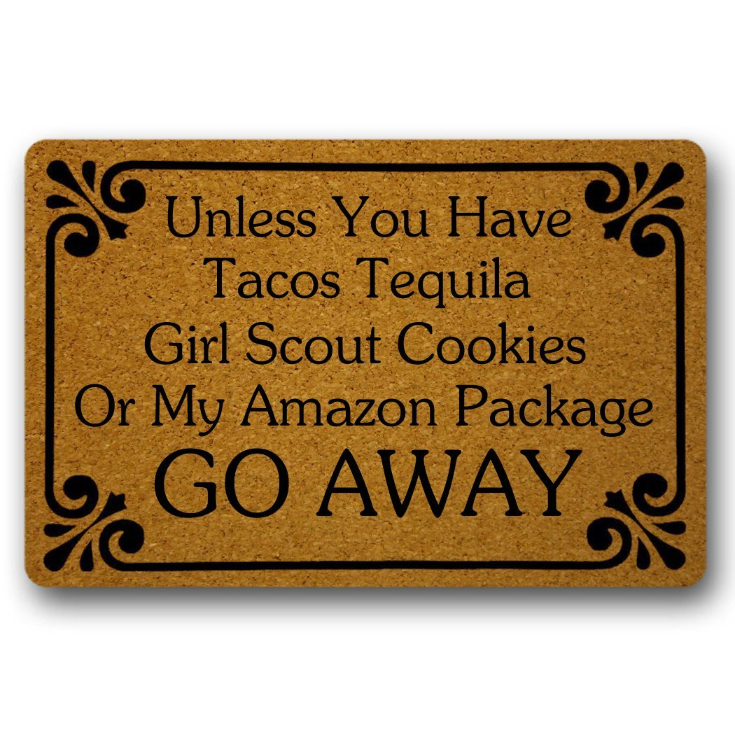 UlanLi Unless You Have Tacos Tequila,Girl Scout Cookies Go Away Funny Door Mat Indoor/Outdoor Rubber Non Slip Doormat For Patio Front Door 18 x 30 Entrance Floor Mat
