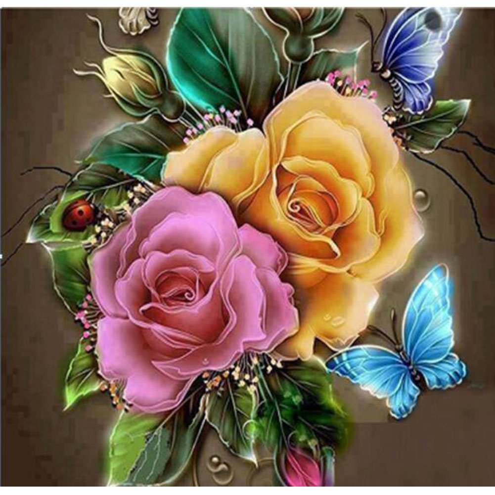 5D Diamond Painting Embroidery YuBoBo DIY Round Drill Cross Stitch Rose Flowers Butterfly Embroidery Arts Craft For Home Decoration 16X12inch 4336952705