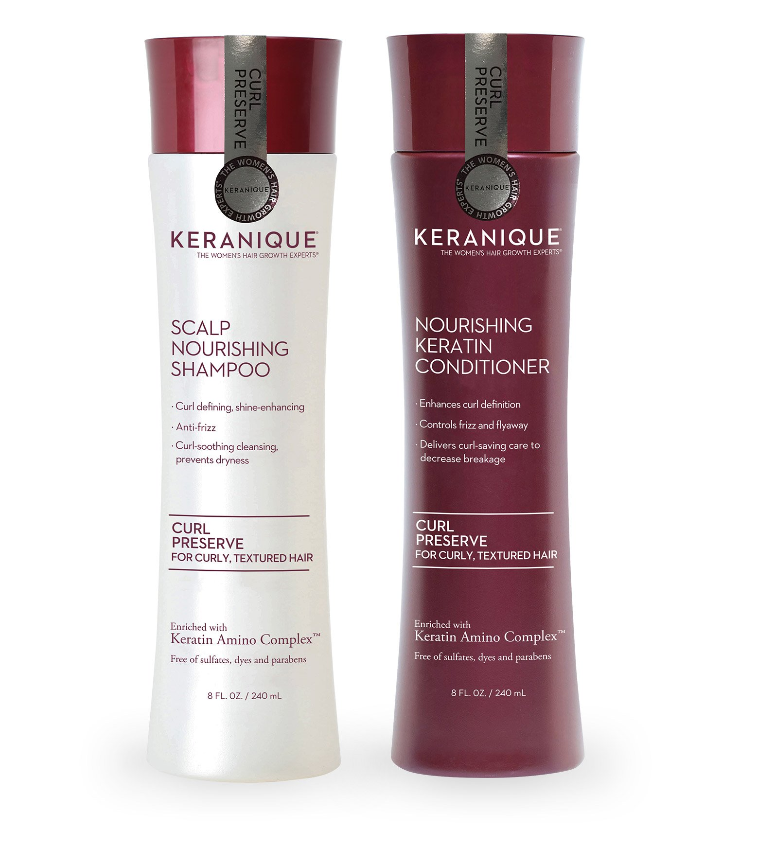 Keranique Curl Preserve Shampoo and Conditioner Duo Set for Curly, Textured Hair - Sulfate Free, Paraben Free, Anti Breakage 8 fl oz. by Keranique
