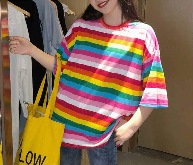 T Shirt Women Rainbow Striped Harajuku Tshirt Short Sleeve T-Shirt
