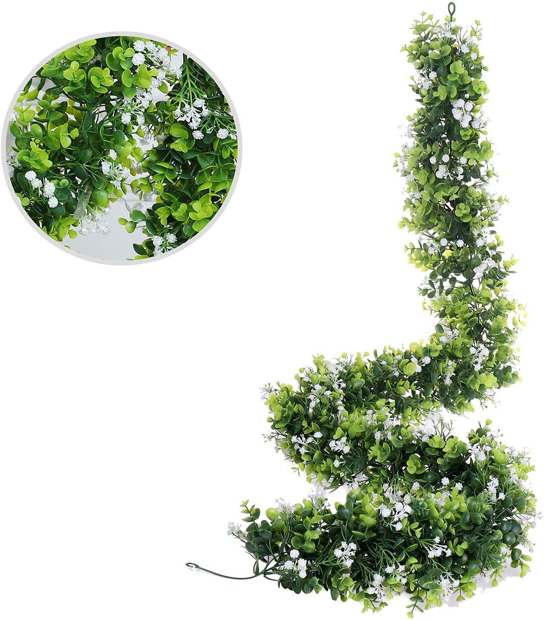 70 inches Fake Boxwood Baby's Breath Gypsophila Vine Flowers Garland Plants Artificial Flower Hanging Eucalyptus Ivy Home Hotel Office Wedding Party Garden Craft Art Décor Decoration (White)