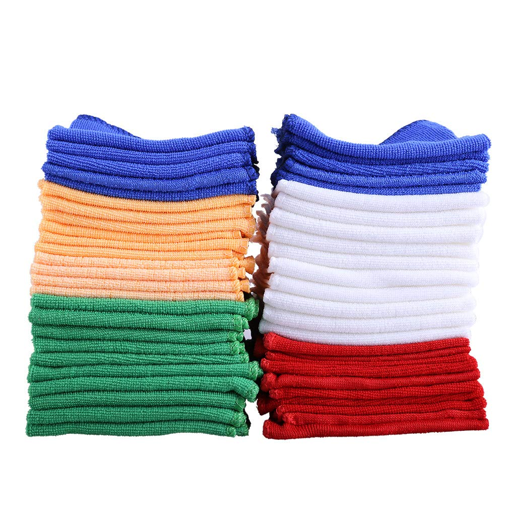 Rigel7 Microfiber Cleaning Cloths Pack of 50 Towels Blue, Red, White, Green, Orange by Rigel7