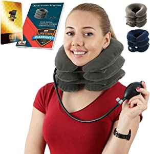 Cervical Neck Traction Device for Men and Women – Inflatable Collar Brace for Neck Decompression and Support – Neck Stretcher for Home Use – Provides Pain Relief and Restores Spinal Curve