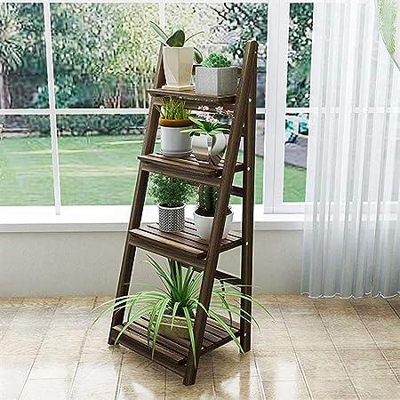 Estantería estantería flor de pared decorativo de estilo planta de puertas de madera escaleras escalera cuarto piso de la oficina marrón salón plegable de almacenamiento,Brown: Amazon.es: Hogar