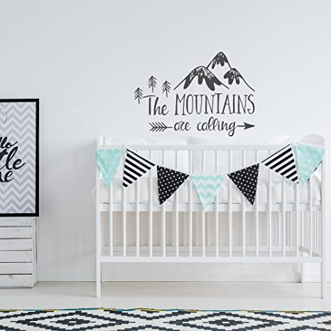 Nursery decal Wall decal Wall decal mountain Mountain Camping Woodland decal wall stickers Mountain decal Nursery wall decal