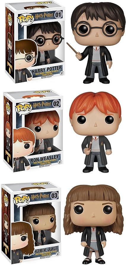 Amazon Com Funko Harry Potter Pop Movie Vinyl Collectors Set Harry Potter Ron Weasley Hermione Action Figure Toys Games
