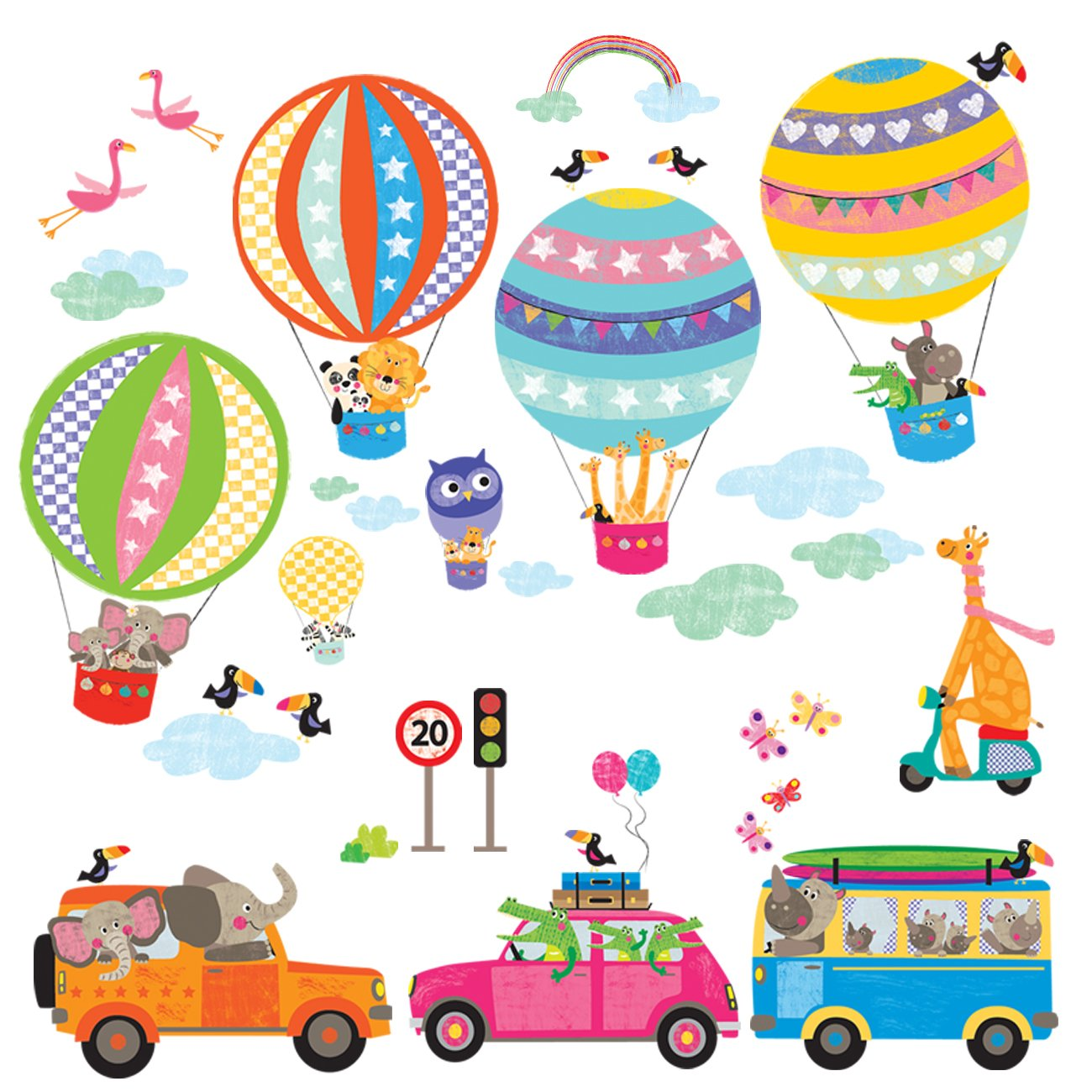 Decowall DAT-1710 Transports Cars Hot Air Balloon Animals Kids Wall Decals Wall Stickers Peel and Stick Removable Wall Stickers for Kids Nursery Bedroom Living Room