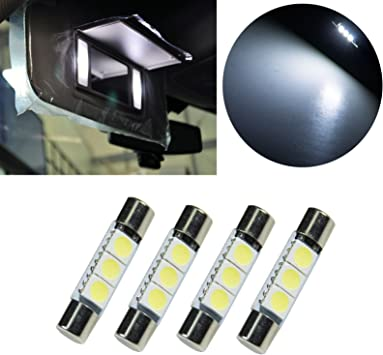 PA 4x LED 5050 3SMD Fuse Festoon Bulb Dome Interior Light /& Car Auto Interior Sun Visor Vanity Mirror Light 31mm Blue