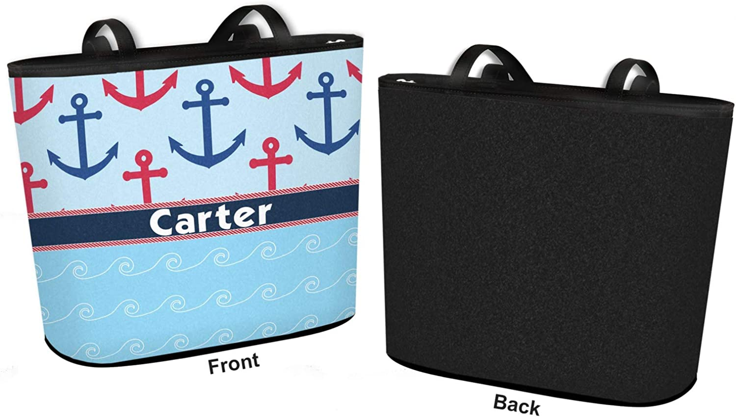 Personalized Regular w//Front Design Anchors /& Waves Bucket Tote w//Genuine Leather Trim