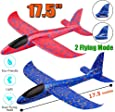 "WP Pack Airplane Toy, 17.5"" Large Throwing Foam Plane, Dual Flight Mode, Aeroplane Gliders, Flying Aircraft"