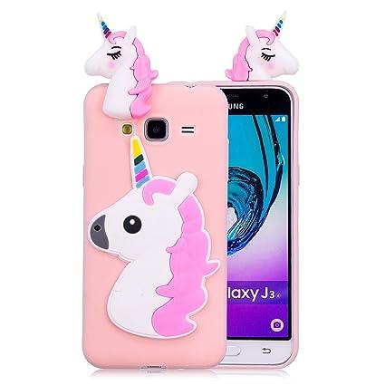 3e1c411d208 Funluna Funda Samsung Galaxy J3 2016, 3D Unicornio Silicona Dibujo Animado  Suave Case Cover Protección
