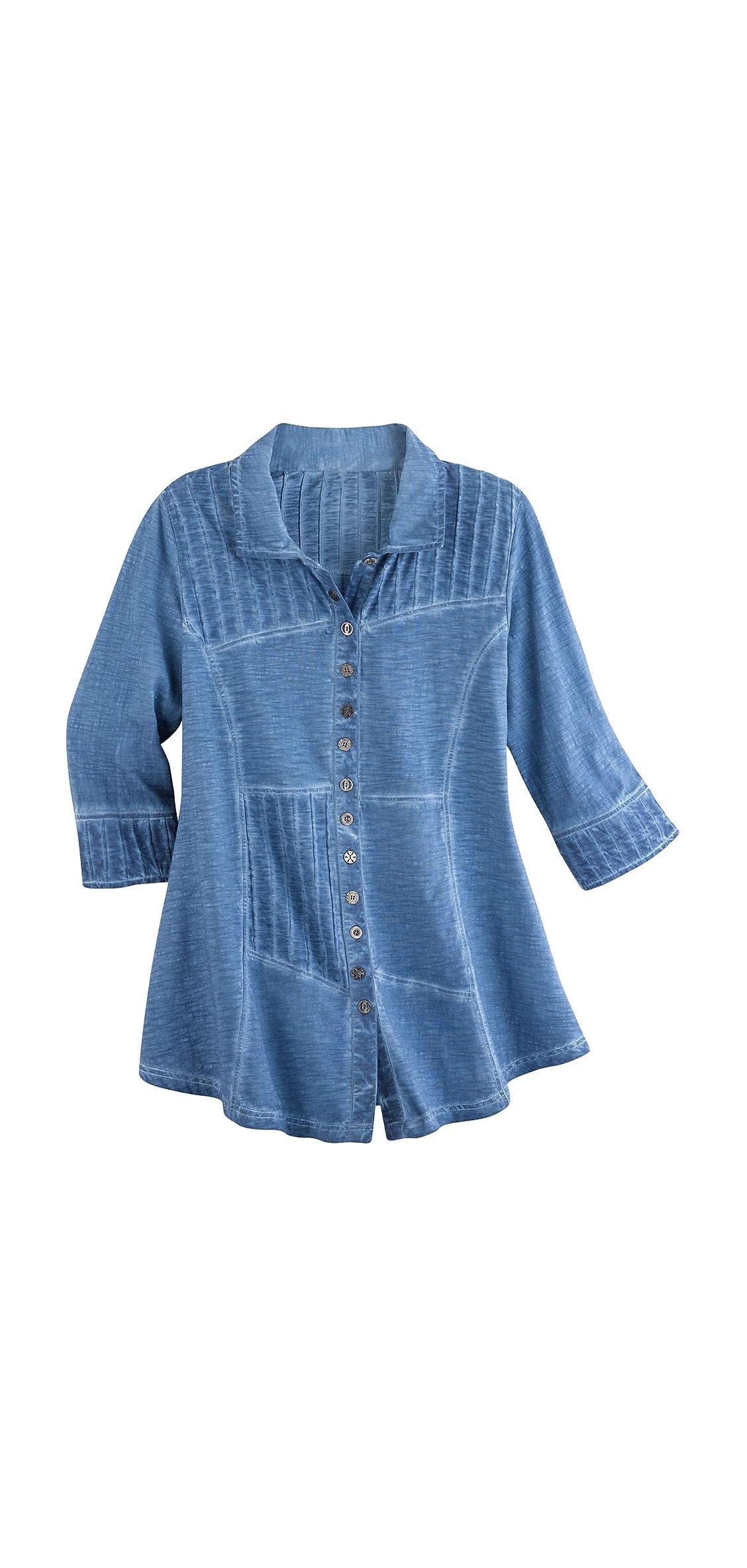 Women's Pin Tuck Tunic Top - Button Front /