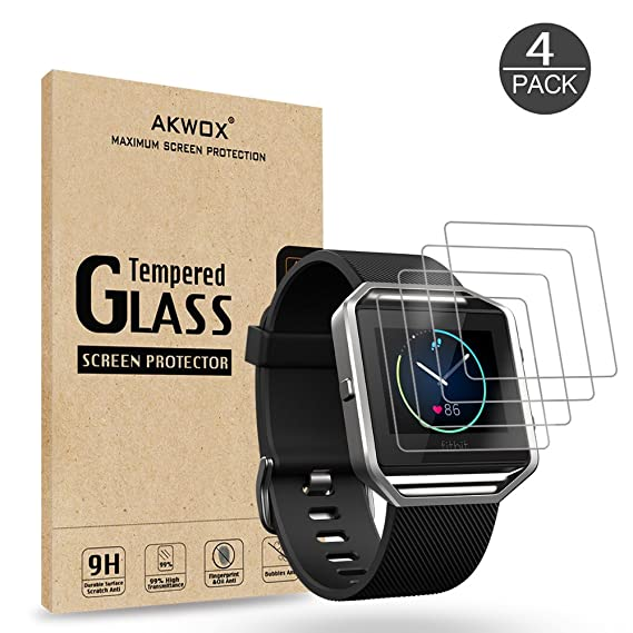 big sale d94a9 edb7b (Pack of 4) Tempered Glass Screen Protector for Fitbit Blaze Smart Watch,  Akwox [0.3mm 2.5D High Definition 9H] Premium Clear Screen Protective Film  ...