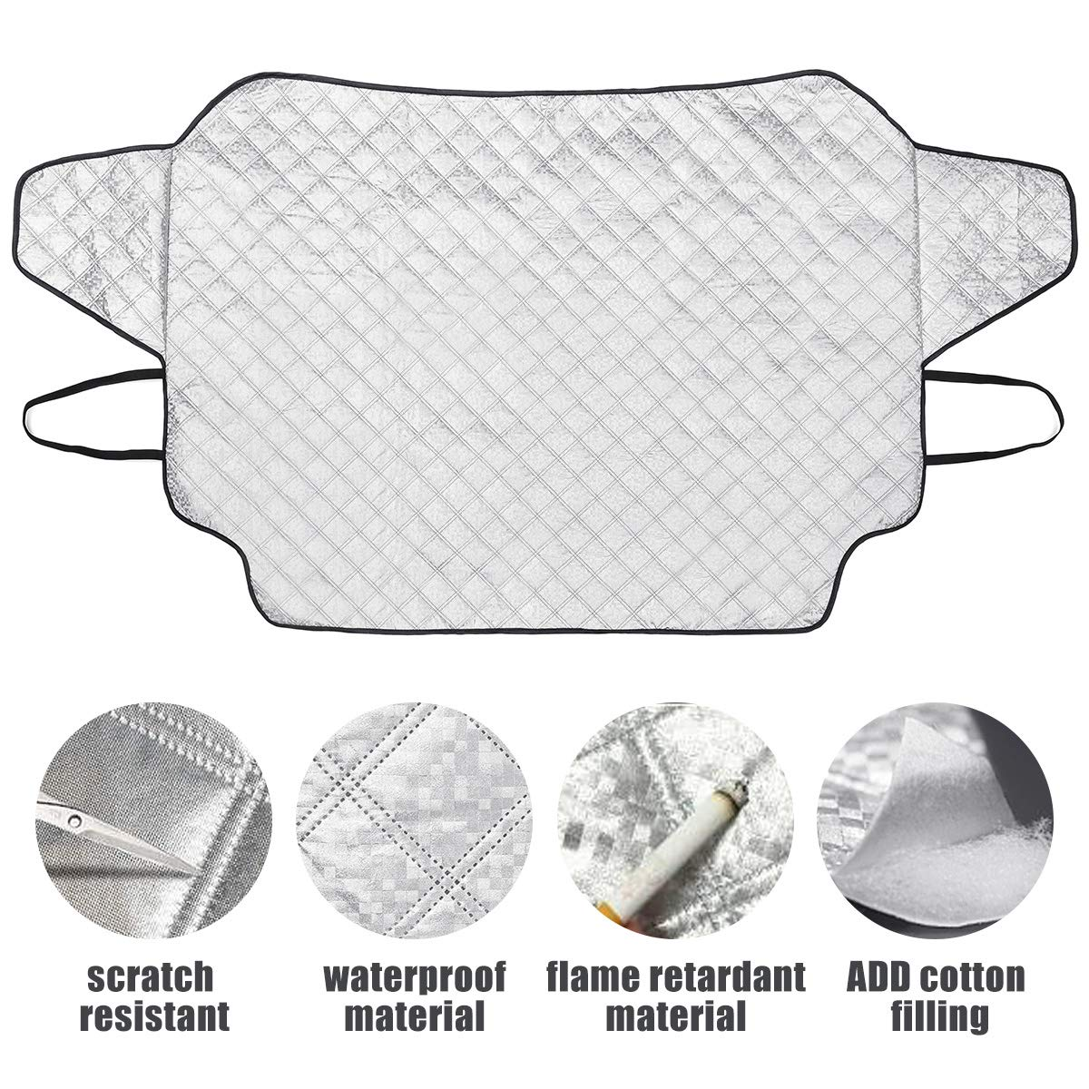 MATCC Car Windshield Cover Sun Shade Summer Sun Protector Magnetic Waterproof Ice Removal Winter Windshield Cover Sun Shade Lengthened Side Panels Snow Protection Cover Fits All Season Most Cars