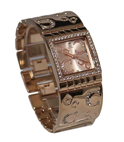 Ernest Dolce Vita - Estuche con reloj decorado con bisuteria rosa para mujer y pulsera de cobre: Amazon.es: Relojes