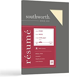 "Southworth Resume Paper, 100% Cotton, 8.5"" x 11"", 24lb/90 GSM, Wove Finish, Ivory, 100 Sheets - Packaging May Vary (R14ICF)"