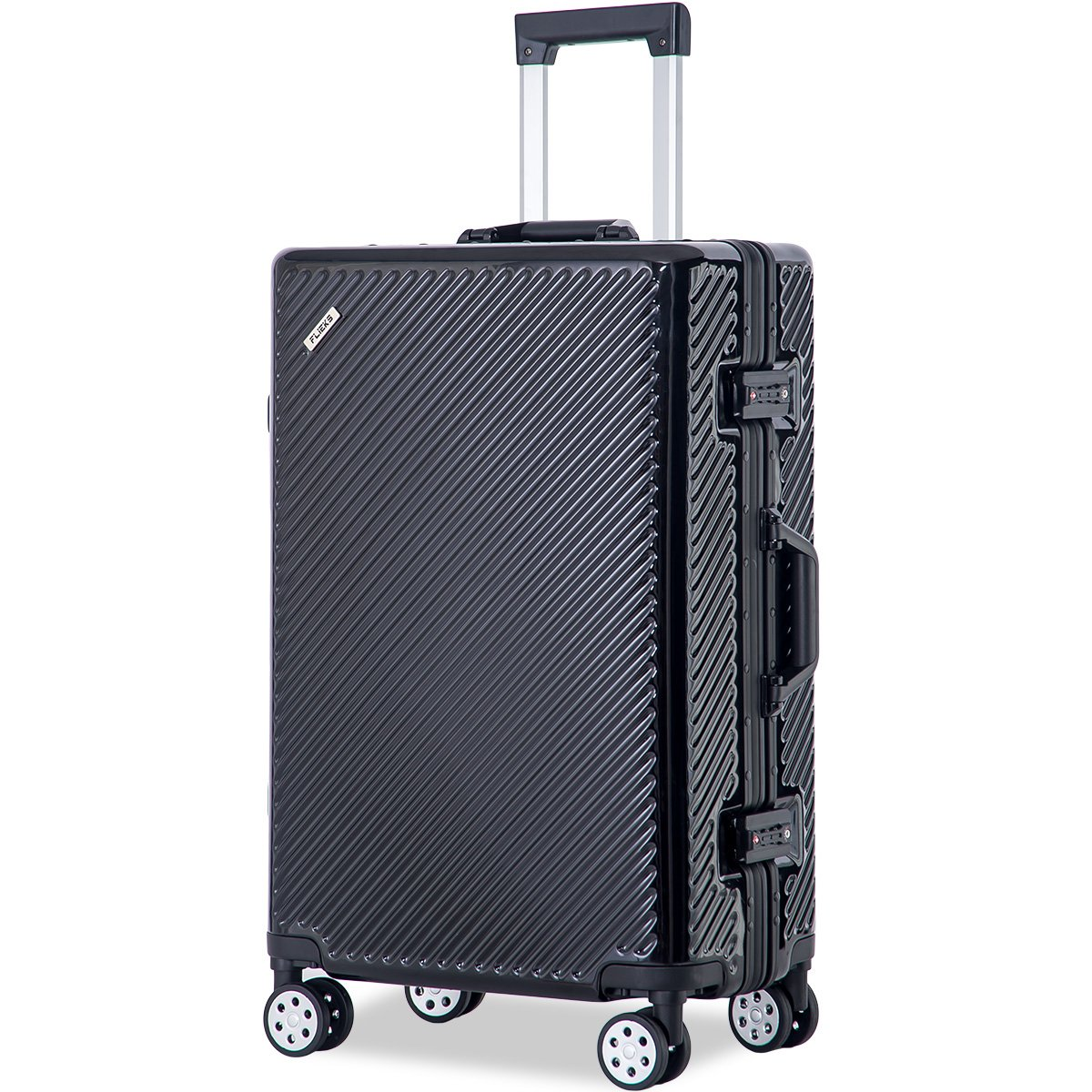 Flieks Aluminium Frame Luggage TSA Approved Suitcase (28-Consignment, Black)