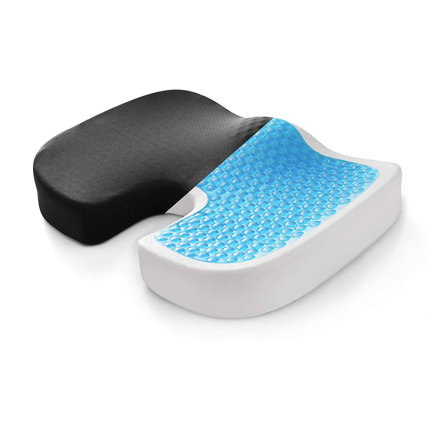 Coccyx Orthopedic Memory Foam Seat Cushion - Helps with Sciatica Back Pain - Perfect for Your Office Chair and Sitting on The Floor Gives Relief from Tailbone Pain (Gel Seating Cushion)