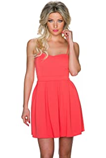 d02382f12b6fe Fashion Damen Trägerkleid Mini Kleid mit vorgeformten Cups und Struktur  Muster | Träger Kleid Minikleid