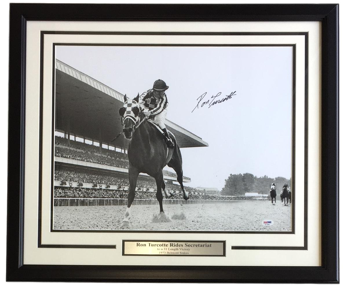 Ron Turcotte Signed Framed 16x20 Secretariat 1973 Belmont Stakes Photo PSA