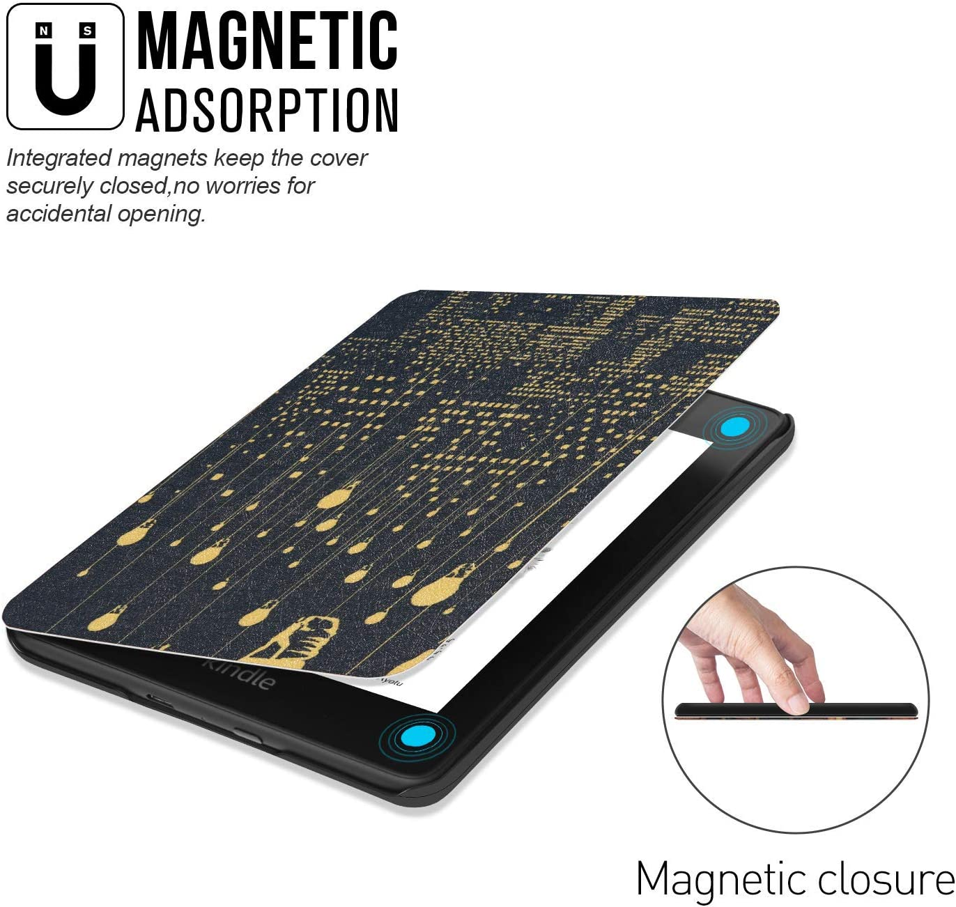 10th Generation-2018 City Night PU Leather Smart Cover with Auto Wake//Sleep Boskin for All New Kindle Paperwhite case 2018 Release