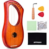 ammoon 7-String Lyre Harp Ancient Style Lyres Okoume Wood String Instrument with Carry Bag String Set Tuning Wrench…